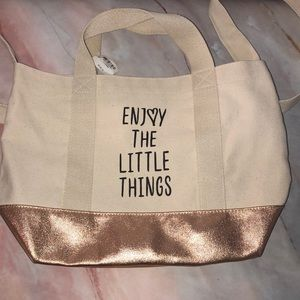 Bath &Body Works canvas and rose gold tote